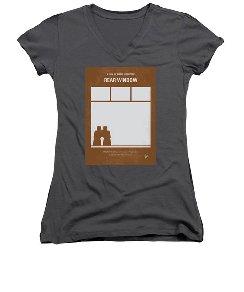 No238 My Rear Window Minimal Movie Poster Women's V-Neck T-Shirt (Junior Cut) by Chungkong Art
