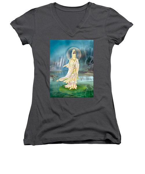 Non-dual Kuan Yin Women's V-Neck T-Shirt (Junior Cut) by Lanjee Chee