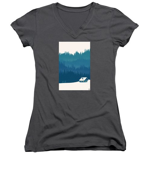 Nordic Ski Scene Women's V-Neck (Athletic Fit)