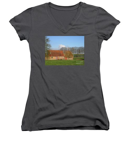 Women's V-Neck T-Shirt (Junior Cut) featuring the photograph Normandy Storm Damaged Barn by HEVi FineArt