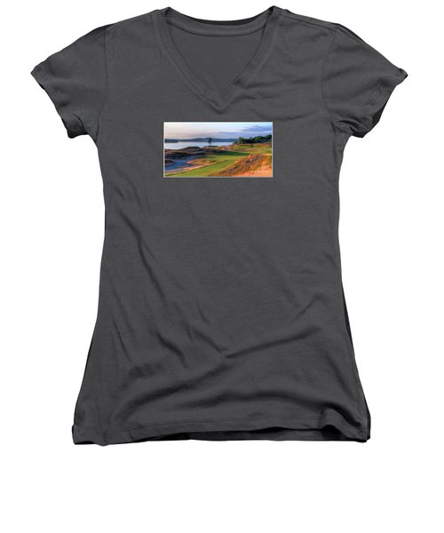 Women's V-Neck T-Shirt (Junior Cut) featuring the photograph North By Northwest - Chambers Bay Golf Course by Chris Anderson