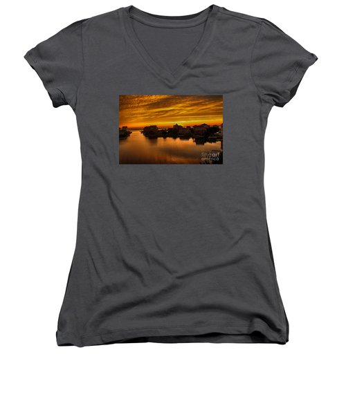 North Carolina Sunset Women's V-Neck T-Shirt (Junior Cut) by Tony Cooper