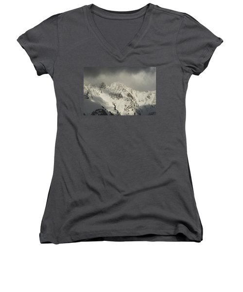 Women's V-Neck T-Shirt (Junior Cut) featuring the photograph North Cascades Mountains In Winter by Yulia Kazansky