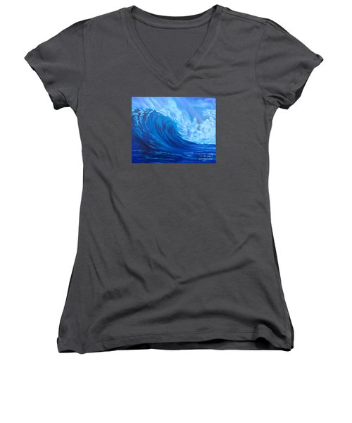 Women's V-Neck T-Shirt (Junior Cut) featuring the painting Wave V1 by Jenny Lee