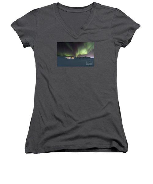 Northern Lights Iceland Women's V-Neck T-Shirt (Junior Cut) by Gunnar Orn Arnason