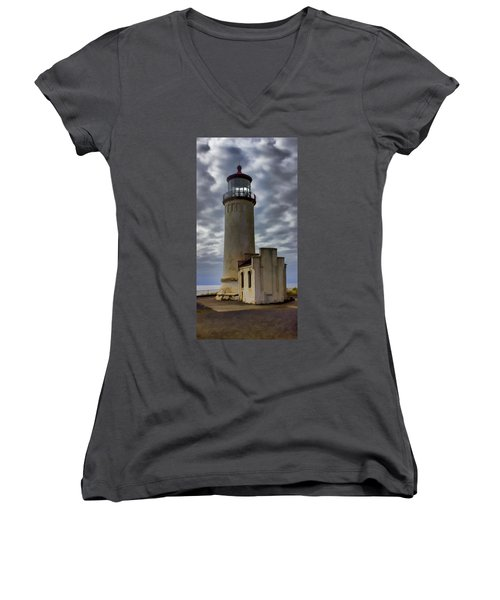 North Head Lighthouse Women's V-Neck T-Shirt (Junior Cut) by Cathy Anderson
