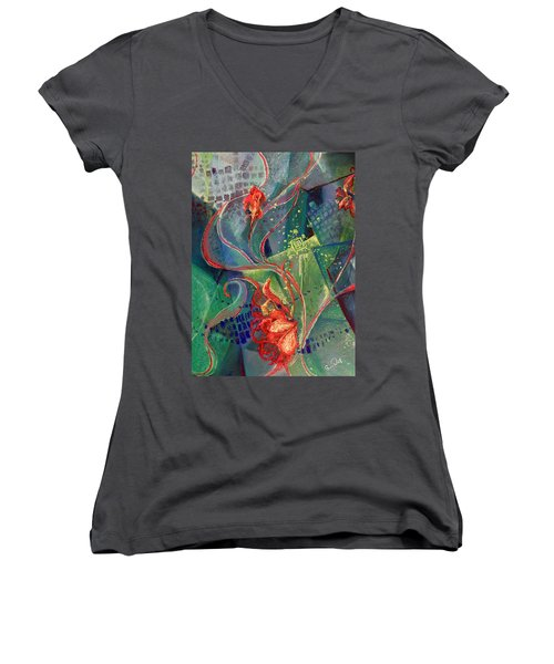 Not Destroyed Women's V-Neck T-Shirt (Junior Cut) by Susan Will