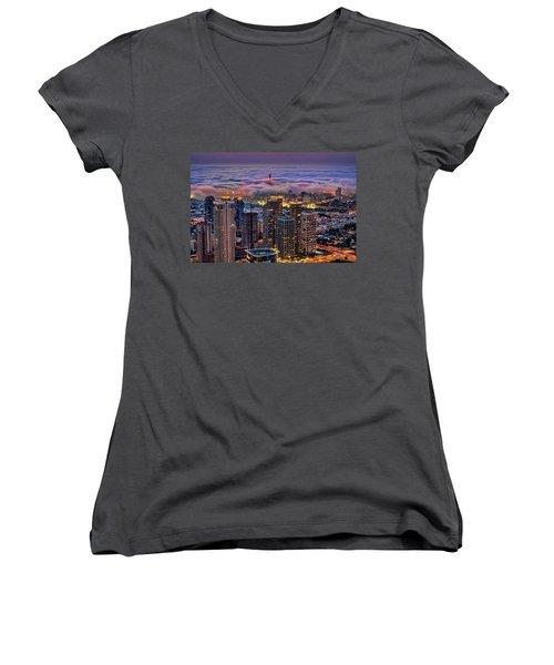 Women's V-Neck T-Shirt (Junior Cut) featuring the photograph Not Hong Kong by Ron Shoshani