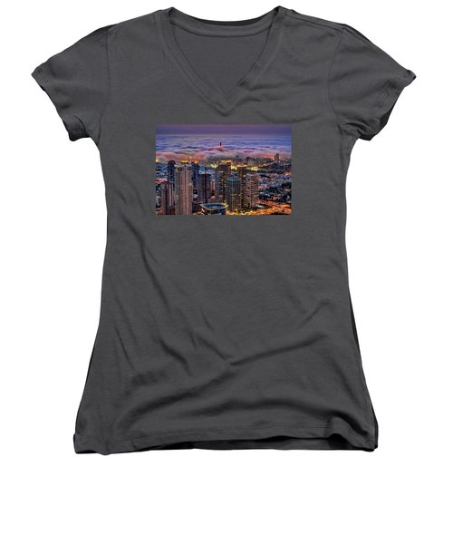Women's V-Neck T-Shirt featuring the photograph Not Hong Kong by Ron Shoshani