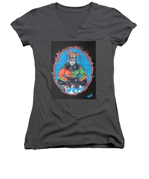 Women's V-Neck T-Shirt (Junior Cut) featuring the drawing November Snow by Michael  TMAD Finney