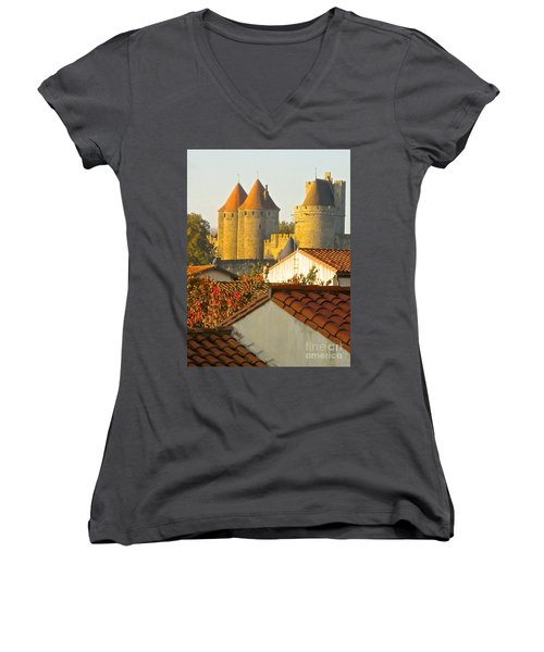 Women's V-Neck T-Shirt (Junior Cut) featuring the photograph Now And Then by Suzanne Oesterling