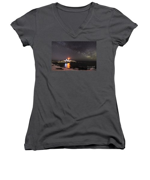 Nubble Light With Milky Way Women's V-Neck T-Shirt