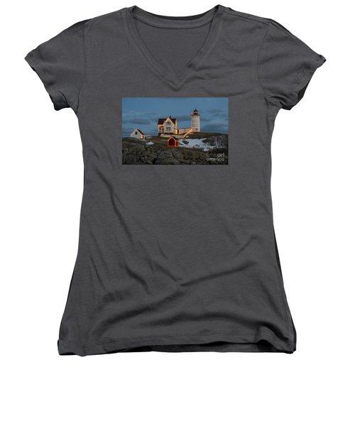 Nubble Lighthouse At Christmas Women's V-Neck T-Shirt (Junior Cut) by Steven Ralser