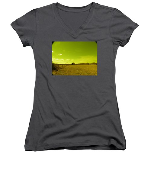 Women's V-Neck T-Shirt (Junior Cut) featuring the photograph Nuclear Fencerow by Nick Kirby