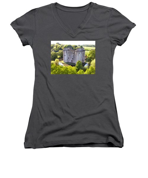 Nunney Castle Painting Women's V-Neck T-Shirt