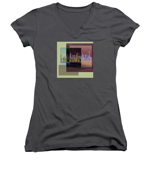 Nyc Abstract-3 Women's V-Neck (Athletic Fit)