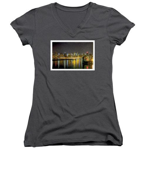 Nyc At Night Faux Oil Women's V-Neck T-Shirt