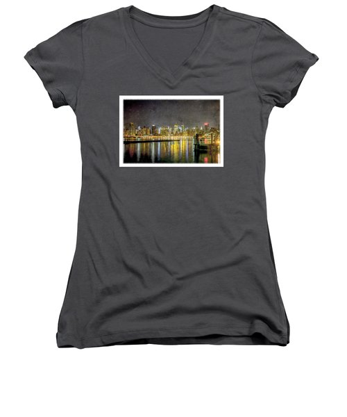 Nyc At Night Women's V-Neck (Athletic Fit)