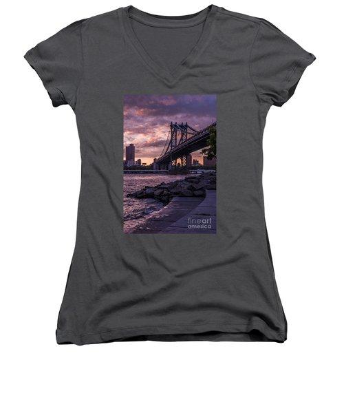 Nyc- Manhatten Bridge At Night Women's V-Neck T-Shirt (Junior Cut) by Hannes Cmarits