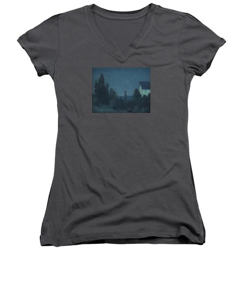 Starry Night  Women's V-Neck T-Shirt (Junior Cut) by Gustave Wiegand