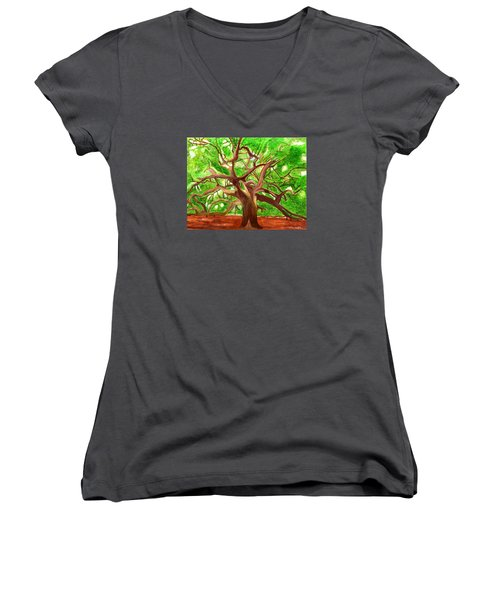 Women's V-Neck T-Shirt (Junior Cut) featuring the painting Oak Tree by Magdalena Frohnsdorff