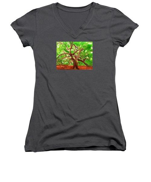 Oak Tree Women's V-Neck T-Shirt (Junior Cut) by Magdalena Frohnsdorff