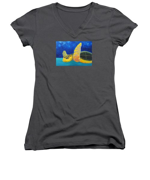Obx Turtle Women's V-Neck T-Shirt (Junior Cut) by Anne Marie Brown
