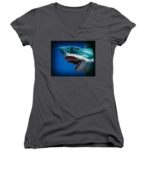 Ocean City Shark Attack Women's V-Neck T-Shirt
