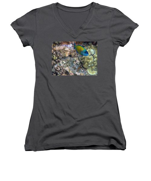 Women's V-Neck T-Shirt (Junior Cut) featuring the photograph Ocean Color by Peggy Hughes