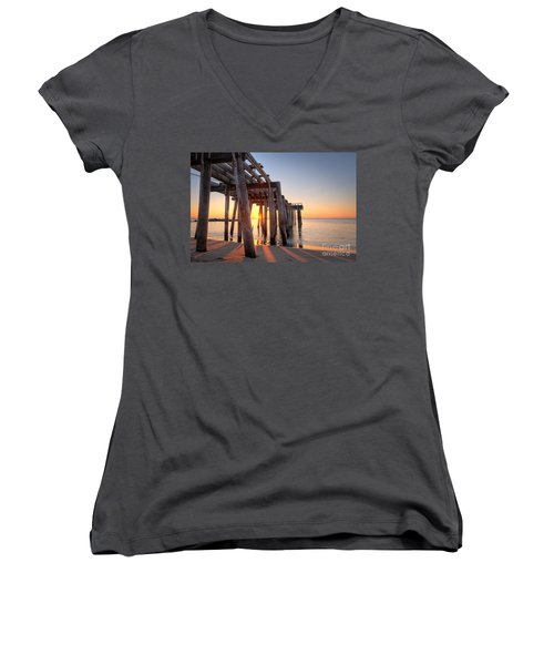 Ocean Grove Pier Sunrise Women's V-Neck T-Shirt (Junior Cut)