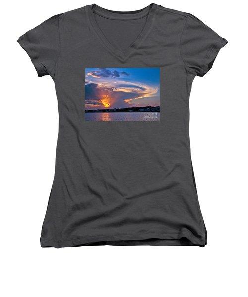 Ocean Isle Sunset Women's V-Neck