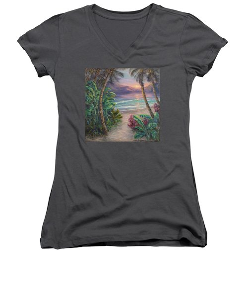 Ocean Sunrise Painting With Tropical Palm Trees  Women's V-Neck