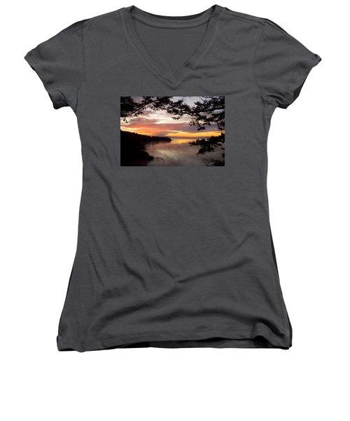 Ocean Sunset Deception Pass Women's V-Neck