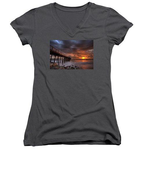 Oceanside Pier Perfect Sunset Women's V-Neck T-Shirt (Junior Cut) by Peter Tellone