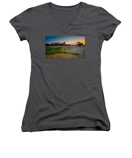 October Evening On The Farm Women's V-Neck