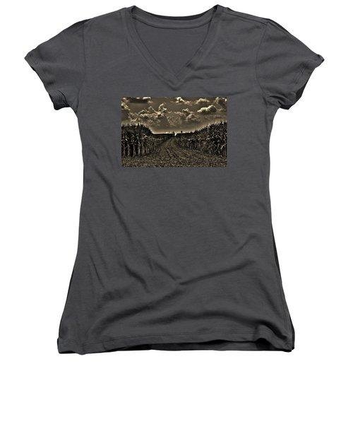 October Sky Women's V-Neck T-Shirt (Junior Cut) by Robert Geary