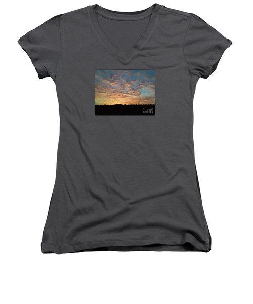 October Sunrise Women's V-Neck T-Shirt (Junior Cut) by Susan Williams