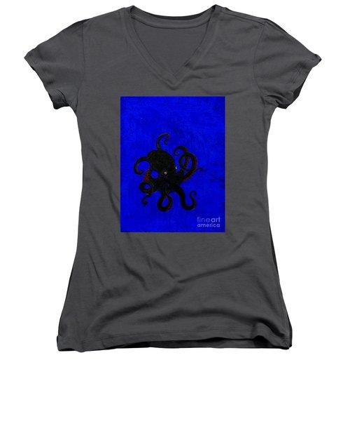 Octopus Black And Blue Women's V-Neck T-Shirt (Junior Cut) by Stefanie Forck