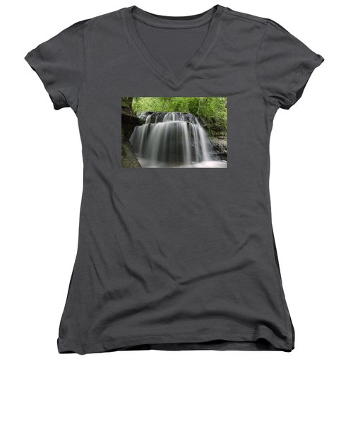 Odom Creek Waterfall Georgia Women's V-Neck (Athletic Fit)