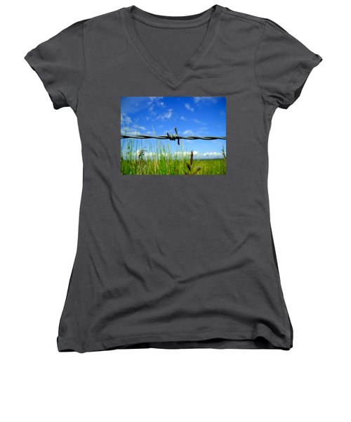 Women's V-Neck T-Shirt (Junior Cut) featuring the photograph Off Limits by Nina Ficur Feenan