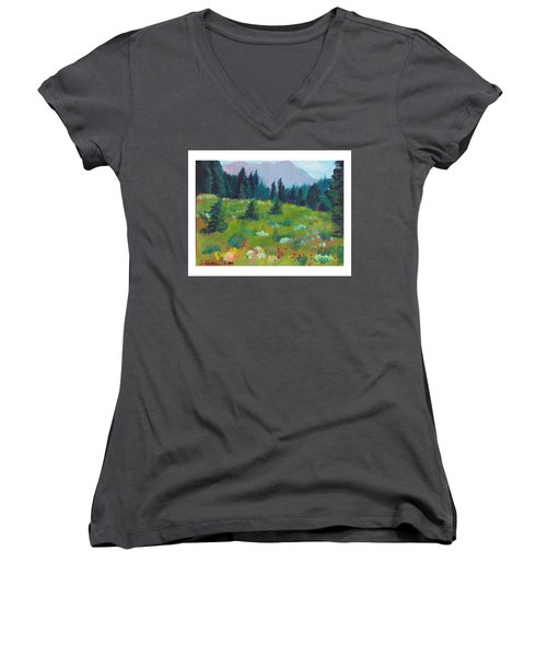 Off The Trail Women's V-Neck T-Shirt (Junior Cut) by C Sitton