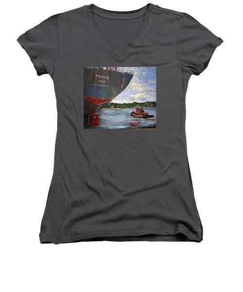Off To Work Women's V-Neck T-Shirt