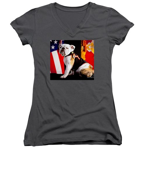 Official Mascot Of The Marine Corps Women's V-Neck T-Shirt (Junior Cut) by Pg Reproductions