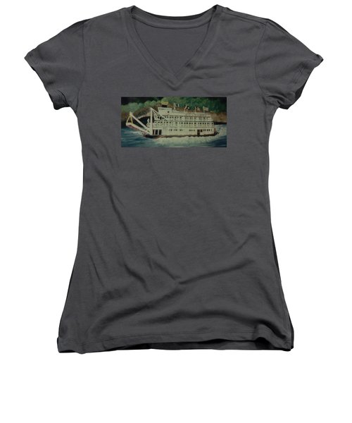 Ohio Riverboat Women's V-Neck T-Shirt (Junior Cut) by Christy Saunders Church