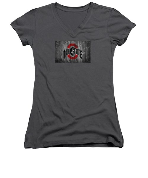 Ohio State University Women's V-Neck T-Shirt (Junior Cut) by Dan Sproul