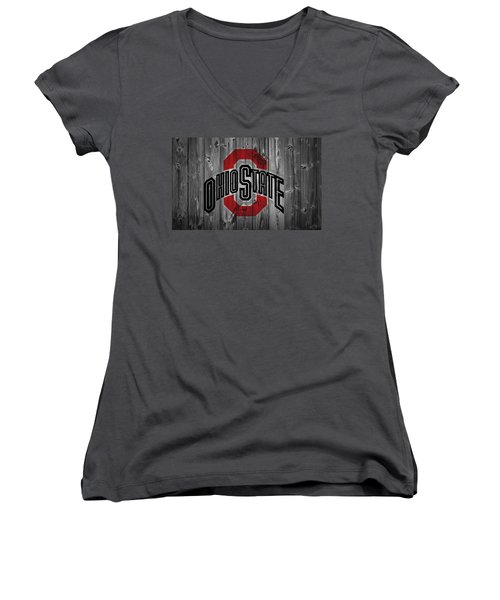 Women's V-Neck featuring the digital art Ohio State University by Dan Sproul