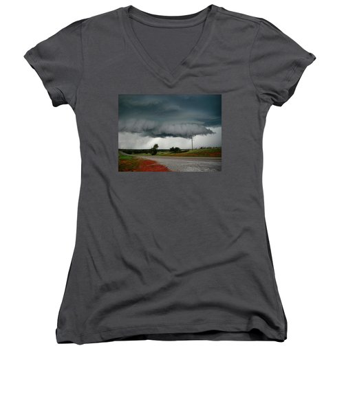 Oklahoma Wall Cloud Women's V-Neck T-Shirt (Junior Cut) by Ed Sweeney