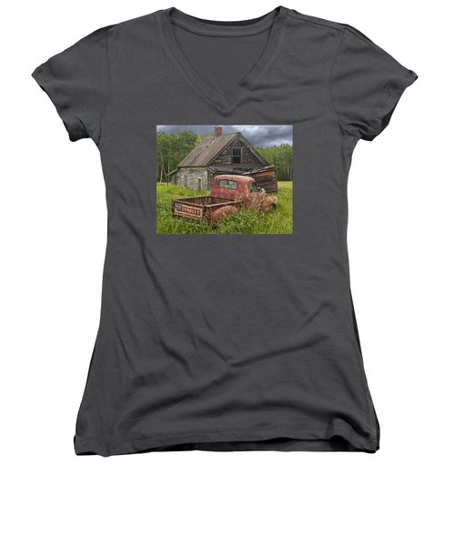 Old Abandoned Homestead And Truck Women's V-Neck T-Shirt (Junior Cut) by Randall Nyhof