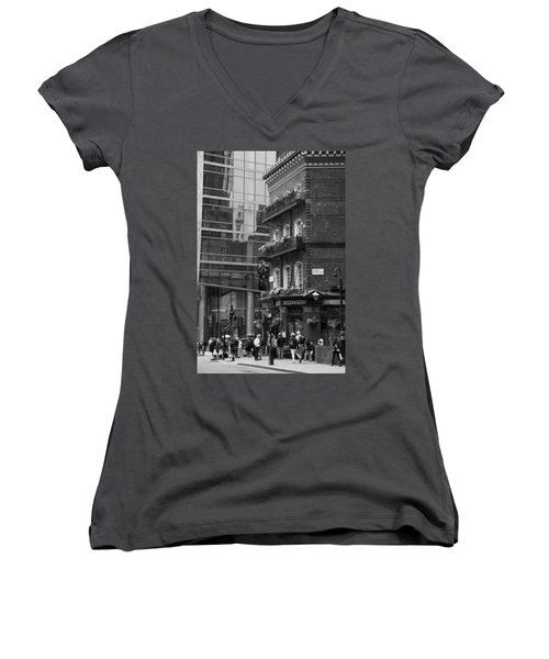 Women's V-Neck T-Shirt (Junior Cut) featuring the photograph Old And New by Chevy Fleet