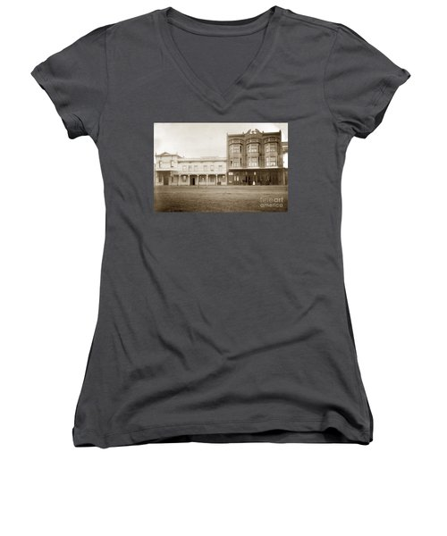 Old And New Salinas Hotel Was On West Market Street Circa 1885 Women's V-Neck